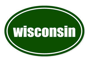 Wisconsin State Green Oval Car Window Bumper Sticker Decal 5 X 3