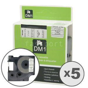 5pk Black On Clear Tape Label Compatible For Dymo 53710 D1 24mm 1