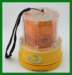 Battery Operated 24 Amber Led Beacon Flashing Light Portable Magnetic Mount