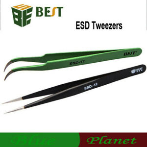 Bga Rework Soldering Anti static Stainless Steel Esd Tweezers Set Solder Iron