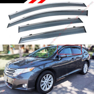 For 2008 2016 Toyota Venza Clip On Smoke Tinted Side Window Visor W Chrome Trim