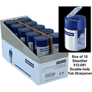 Box Of 10 Staedtler 512 001 Double hole Tub Pencil Sharpener