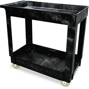 Rubbermaid Commercial Black 2 Shelf Service utility Cart
