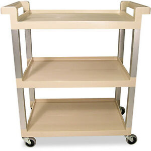 Rubbermaid Commercial Beige 3 Shelf Upright Service Cart With Brushed Aluminum