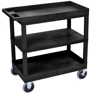 Luxor Ec121hd 32 X 18 inch Black Plastic 2 Tub And 1 Flat Shelf Utility Cart