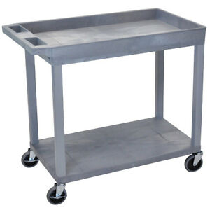 Luxor Ec12 32 X 18 inch Gray Plastic 1 Tub And 1 Flat Shelf Roll Utility Cart
