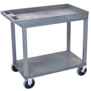 Luxor Ec12hd 32 X 18 inch Gray Plastic 1 Tub And 1 Flat Shelf Roll Utility Cart