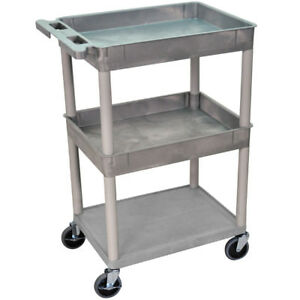 Luxor Stc112 g 24 X 18 inch Gray Plastic 2 Tub And 1 Flat Shelf Utility Cart