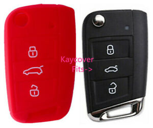 Red Silicone Car Flip Key Cover For Vw Volkswagen Mk7 Golf