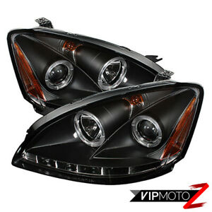 For 2002 2004 Nissan Altima S Se Sl Black Halo Ring Led Projector Headlight Lamp
