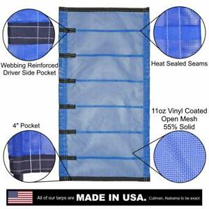 Side Roll Tarp For Belly Bottom Dump Trailer Bed 13oz Open Mesh