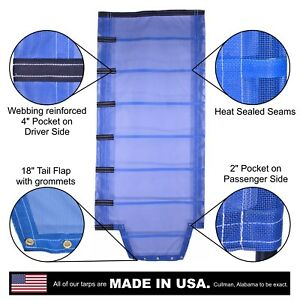 Side Roll Tarp With Tail Flap For End Dump Trailer Bed 13oz Open Mesh