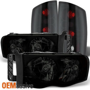 Fit 2002 2005 Dodge Ram 1500 03 05 2500 3500 Black Smoked Headlights Tail Lights