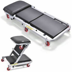 41 2 In 1 Foldable Mechanics Z Creeper Seat Rolling Chair Garage Work Stool New