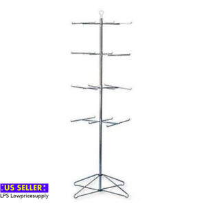 4 Tier 24 Peg Floor Spinner Retail Product Display Rack chrome Finish