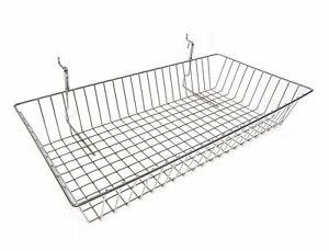 New Case Of 6 Slatwall Or Grid Basket 24 x12 x4 Chrome