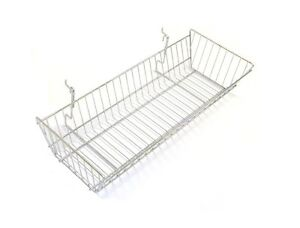 New Case Of 6 Slatwall Or Grid Basket 24 x10 x5 Chrome