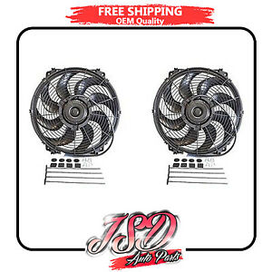 New Pair 16 Inch Universal Slim Fan Radiator Cooling Push Pull And Mounting Kit