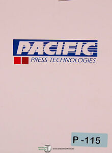 Pacific 100 Straight Side Press Brake Operation Wiring Maintenance Parts Manual