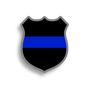 Thin Blue Line Police Badge Sticker Cup Laptop Car Vehicle Window Bumper Decal
