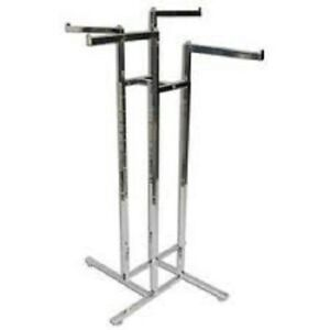 New Chrome 4 Way Clothing Rack 4 16 Straight Arms