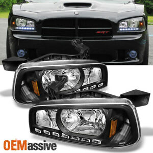 Fit 2006 2010 Dodge Charger Black Led Headlights W corner Lamps 06 07 08 09 10