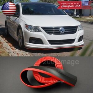 1 3 Black W Red Trim Ez Fit Bumper Lip Splitter Chin Splitter For Bmw Audi