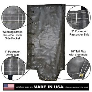 Side Roll Tarp With Tail Flap For End Dump Trailer Bed 7 5oz Closed Mesh
