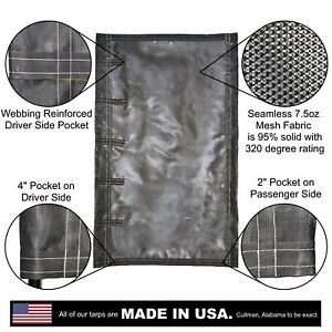 Side Roll Tarp For Belly Bottom Dump Trailer Bed 7 5oz Seamless Closed Mesh