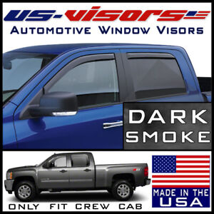Us Visors 2007 2014 Chevy 2500 3500 Hd Crew Cab Window Vent Visors In Channel