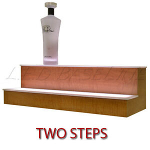 20 2 Tier Led Lighted Liquor Display Shelf Maple Finish