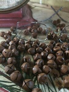 144 Primitive Rusty Tin Jingle Bells 10mm 3 8 In 3 8 Christmas Crafts