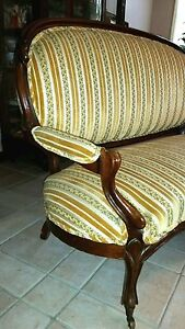 Victorian Sofa 1890s Carved American Walnut Couch Settee Full Size Restored