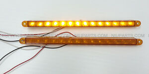 12 14 Led Light Strip Amber Amber For Kenworth Peterbilt Freightliner Fld Pair