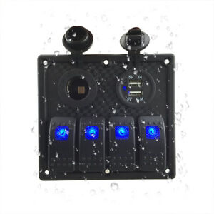 12v 24v 4 Gang Waterproof Marine Blue Led Switch Panel With Power Socket And Usb