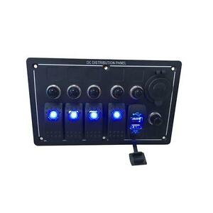 Iztoss Waterproof 4 Gang Aluminum Led Rocker Switch Panel Power Socket And Usb M