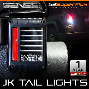 Genssi Black Led Tail Lights Led Lamps With Brake For 07 17 Jeep Wrangler Jk