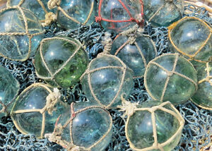 Japanese Glass Fishing Floats 2 Netted Lot 30 Round Bulk Bridal Pool Tiki Vntg