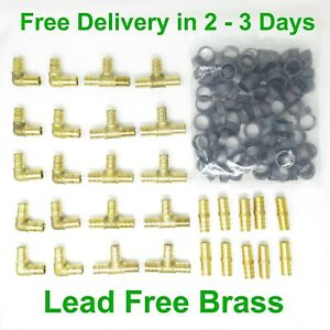 130 Pcs 1 2 Pex Elbow Tee Coupler With Copper Crimp Rings Lead Free Brass