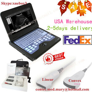 Us digital portable ultrasound scanner machine convex linear Two Probes Sale
