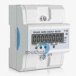 Three phase Four wire Energy Meter Din rail Type Kilowatt Hour Meter 50 60hz