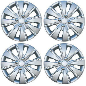 New Set Of 4 15 Inch Silver Aftermarket Wheel Covers Hubcaps For 2012 14 Yaris