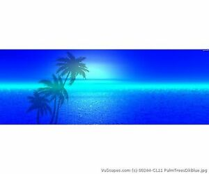 Vuscapes Truck Rear Window Graphic 4 Sizes Avial Palm Trees dark Blue