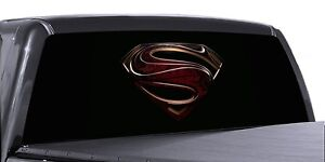 Vuscapes Truck Rear Window Graphic 4 Sizes Avial Superman Logo Black