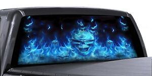 Vuscapes Truck Rear Window Graphic 4 Sizes Avial Flaming Blue Skulls