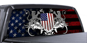 Vuscapes Truck Rear Window Graphic 4 Sizes Avial american Patriotic 1