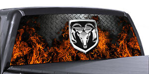 Vuscapes Truck Rear Window Graphic 4 Sizes Avial dodge Ram Fire D plate