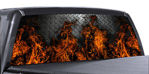 Vuscapes Truck Rear Window Graphic 4 Sizes Avial Fire Diamond Plate