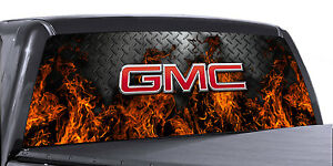 Vuscapes Truck Rear Window Graphic 4 Sizes Avial gmc Fire D plate
