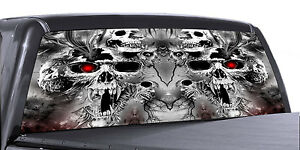 Vuscapes Truck Rear Window Graphic 4 Sizes Avial skulls Trapped In Hell